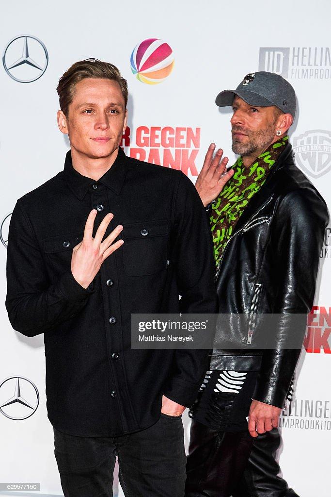 Matthias Schweighofer and guest attend the German premiere of the film 'Vier gegen die Bank' at CineStar on December 13, 2016 in Berlin, Germany.