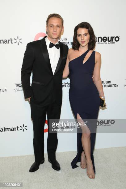 Matthias Schweighofer and Ruby O. Fee attend the 28th Annual Elton John AIDS Foundation Academy Awards Viewing Party Sponsored By IMDb, Neuro Drinks...
