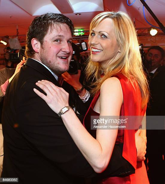 Matthias Steiner arrives with Inge Posmyk for the 2009 Sports Gala ' Ball des Sports ' at the RheinMain Hall on February 7 2009 in Wiesbaden Germany