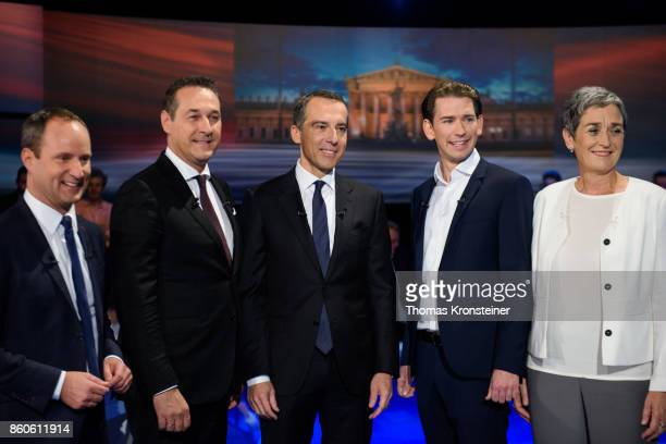 Matthias Strolz of the Austrian liberal party HeinzChristian Strache of the rightwing Austrian Freedom Party Austrian Chancellor Christian Kern of...