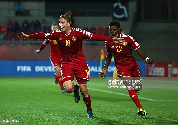Matthias Verreth of Belgium celebrates after scoring a goal during the FIFA U17 World Cup round of 16 match between Korea Republic and Belgium at...