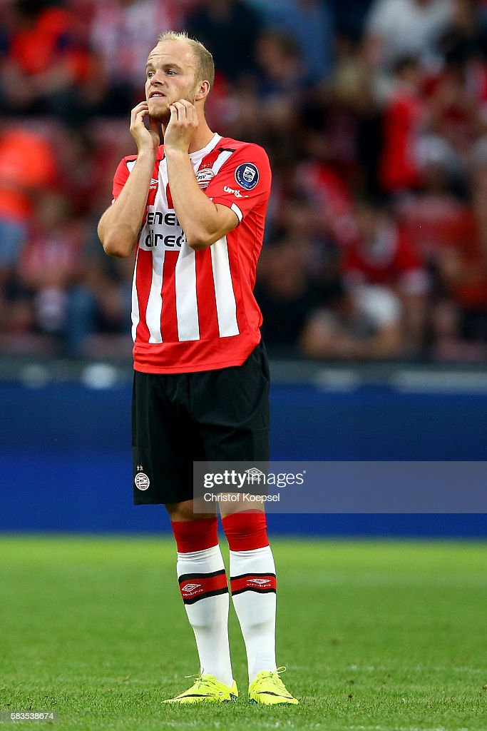 Matthias Verreth of Eindhoven looks dejected after the first goal of FC Eindhoven during the friendly match between FC Eindhoven and PSV Eindhoven at Philips Stadium on July 26, 2016 in Eindhoven, Netherlands.