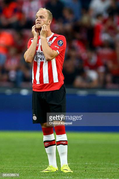 Matthias Verreth of Eindhoven looks dejected after the first goal of FC Eindhoven during the friendly match between FC Eindhoven and PSV Eindhoven at...