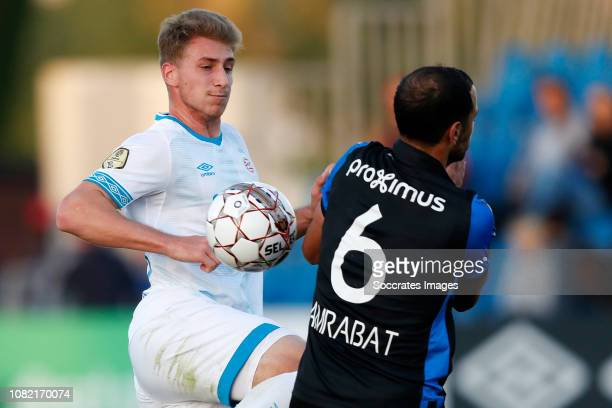 Matthias Verreth of PSV Sofyan Amrabat of Club Brugge during the Club Friendly match between PSV v Club Brugge on January 11 2019 in Doha Qatar