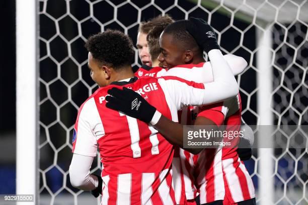 Matthias Verreth of PSV U23 celebrates 20 with Donyell Malen of PSV U23 Jordan Teze of PSV U23 during the Dutch Jupiler League match between PSV U23...