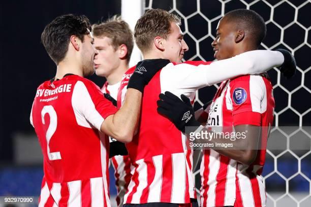 Matthias Verreth of PSV U23 celebrates 20 with Donyell Malen of PSV U23 Bram van Vlerken of PSV U23 Jordan Teze of PSV U23 during the Dutch Jupiler...