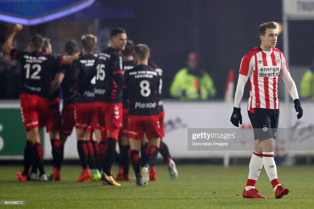 Matthias Verreth of PSV U23 Disappointed during the Dutch Jupiler League match between PSV U23 v Helmond Sport at the De Herdgang on January 12, 2018 in Eindhoven Netherlands