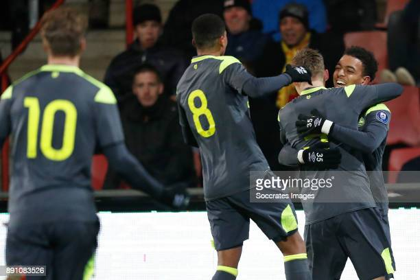 Matthias Verreth of PSV U23 Laros Duarte of PSV U23 Donyell Malen of PSV U23 during the Dutch Jupiler League match between Go Ahead Eagles v PSV U23...