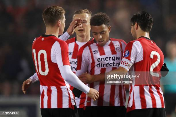 Matthias Verreth of PSV U23 Marcel Ritzmaier of PSV U23 Donyell Malen of PSV U23 Bram van Vlerken of PSV U23 during the Dutch Eredivisie match...