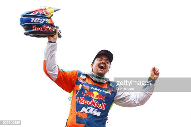 Matthias Walkner of Austria and Red Bull KTM celebrates victory at the end of stage fourteen of the 2018 Dakar Rally a loop stage to and from Cordoba...