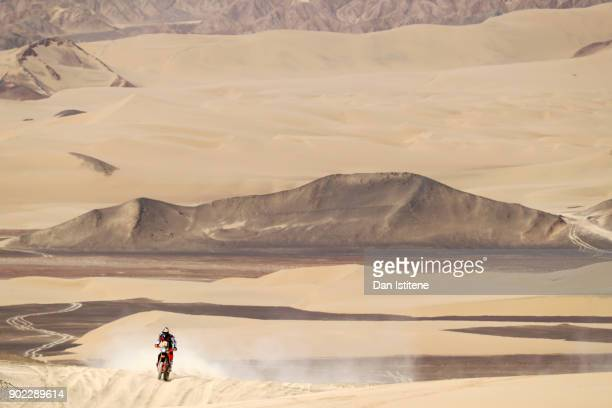 Matthias Walkner of Austria and Red Bull KTM rides a 450 Rally Replica KTM bike in the Elite ASO during stage two of the 2018 Dakar Rally a loop...