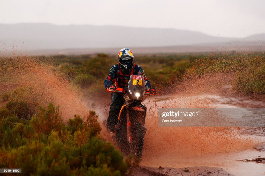 Matthias Walkner of Austria and Red Bull KTM rides a 450 Rally Replica KTM bike in the Elite ASO during stage seven of the 2018 Dakar Rally between La Paz and Uyuni on January 13, 2018 in UNSPECIFIED, Bolivia.