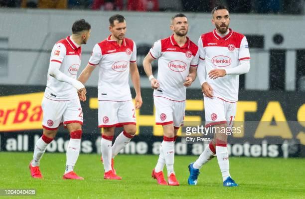 Matthias Zimmermann, Valon Berisha and Kenan Karaman of Fortuna Duesseldorf celebrate after scoring the 1:0 during the game between Fortuna...