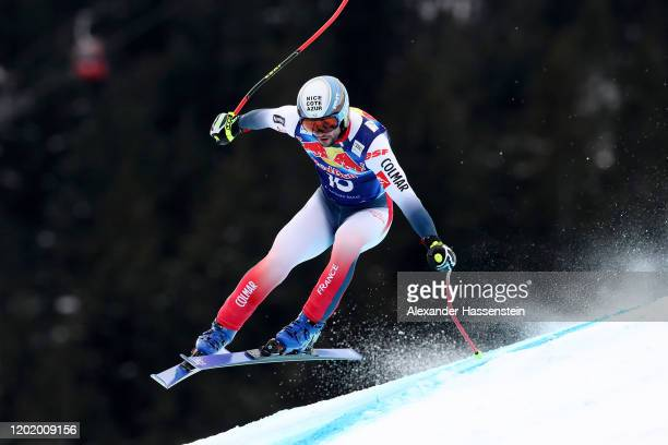Matthieu Bailet of France competes during the Hahnenkamm Rennen Audi FIS Alpine Ski World Sup Men's Downhill at Streif on January 25 2020 in...