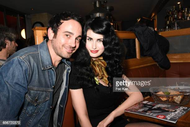 Matthieu Boujenah and Photo stylist Elsa Oesinger attend 'Apero Mecs A Legumes' Party Hosted by Grand Seigneur Magazine at the Bistrot Marguerite on...