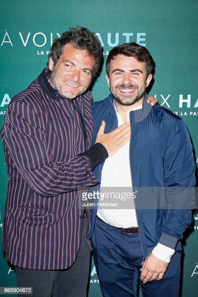 Matthieu Chedid and Stephane de Freitas attend 'A voix haute' documentary screening Premiere at Cinema Max Linder on April 7 2017 in Paris France