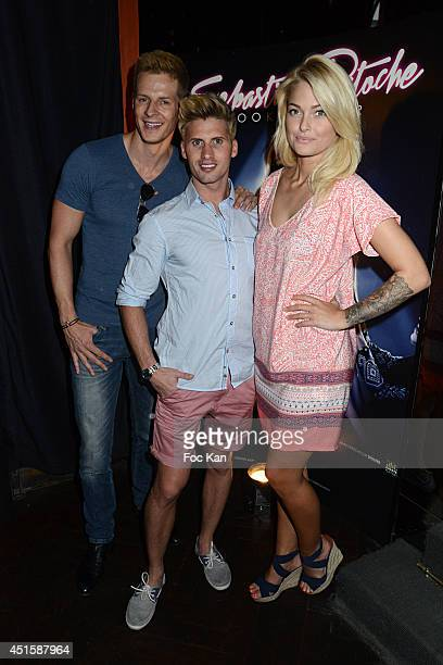 Matthieu Delormeau Benoit Dubois and Caroline Receveur attend 'Un Look D'Enfer' Sebastien Patoche Show Case Party at the Theatre du Renard on July 1...