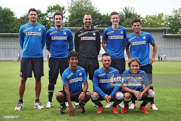 Matthieu Delpierre Jens Grahl head coach Markus Babbel Michael Gregoritsch Kevin Volland Ahmed Sassi Stephan Schroeck and Takashi Usami pose for the...