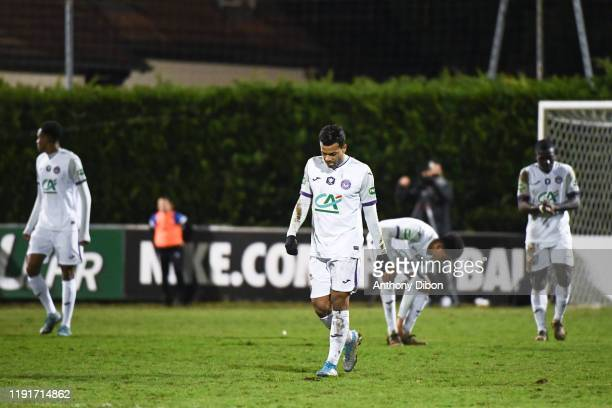 Matthieu DOSSEVI of Toulouse looks dejected during the French Cup match between Saint Pryve Saint Hilaire FC and Toulouse on January 4, 2020 in...