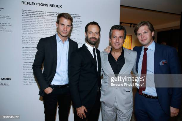 Matthieu Humery Benjamin Millepied Cyril Karaoglan and guest attend the Art Exhibition Reflexion Redux of Benjamin Millepied and Barbara Kruger at...