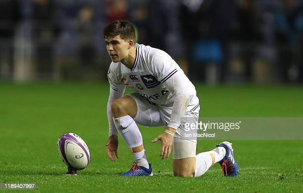 Matthieu Jalibert of Bordeaux prepares to kick a penalty during the European Rugby Challenge Cup Round 2 match between Edinburgh Rugby and Bordeaux...