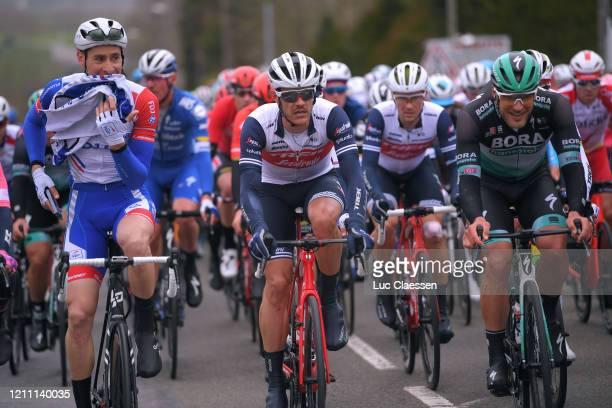 Matthieu Ladagnous of France and Team Groupama - FDJ / Jasper Stuyven of Belgium and Team Trek - Segafredo / Jean Pierre Drucker of Luxembourg and...