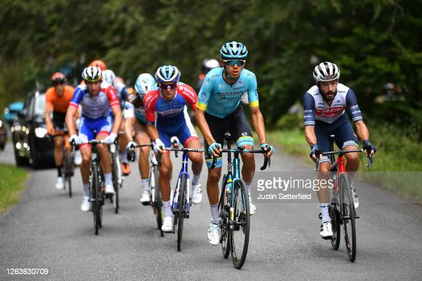 Matthieu Ladagnous of France; and Team Groupama - FDJ / Lilian Calmejane of France and Team Total Direct Energie / Harold Tejada Canacue of Colombia...