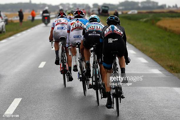 Matthieu Ladagnous of France riding for FDJ, Thibaut Pinot of France riding for FDJ, Matteo Trentin of Italy riding for Etixx-QuickStep and Leopold...