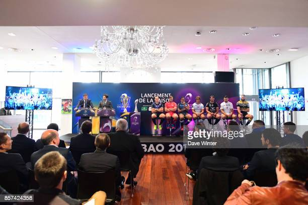 Matthieu Lartot of France Televisions Rodolphe Pres of beIN SPORTS Sergio Paris of Stade Français Paris Duane Vermeulen of Toulon Mathieu Babillot of...