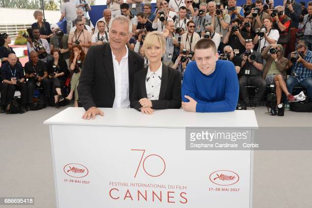Matthieu Lucci director Laurent Cantet and Marina Fois attend the 'L'Atelier' photocall during the 70th annual Cannes Film Festival at Palais des...