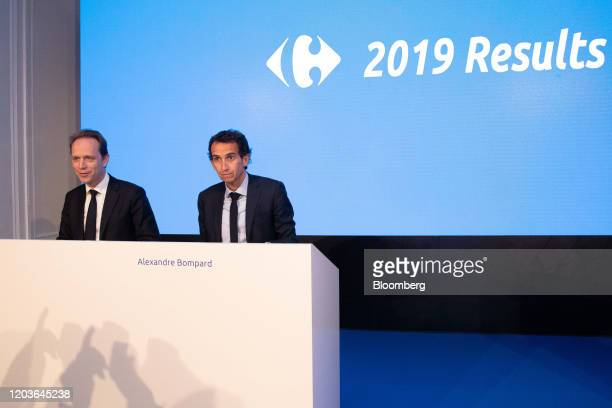 Matthieu Malige chief financial officer officer of Carrefour SA left speaks beside Alexandre Bompard chief executive officer of Carrefour SA during...