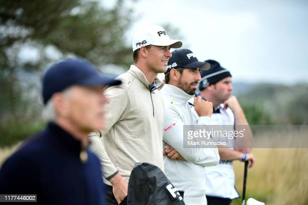 Matthieu Pavon of France and Victor Perez of France on the 14th hole during Day two of the Alfred Dunhill Links Championship at Carnoustie Golf Links...