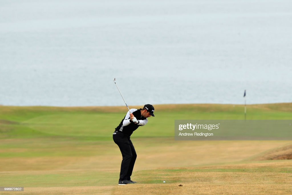 Matthieu Pavon of France takes his second shot on hole ten during day one of the Aberdeen Standard Investments Scottish Open at Gullane Golf Course on July 12, 2018 in Gullane, Scotland.