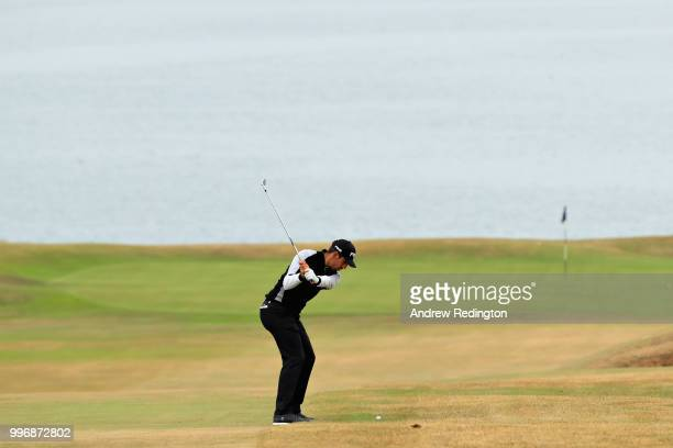 Matthieu Pavon of France takes his second shot on hole ten during day one of the Aberdeen Standard Investments Scottish Open at Gullane Golf Course...