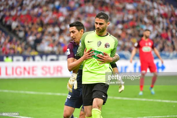 Matthieu Pichot of Les Herbiers and Angel Di Maria of PSG during the French Cup Final between Les Herbiers and Paris Saint Germain at Stade de France...
