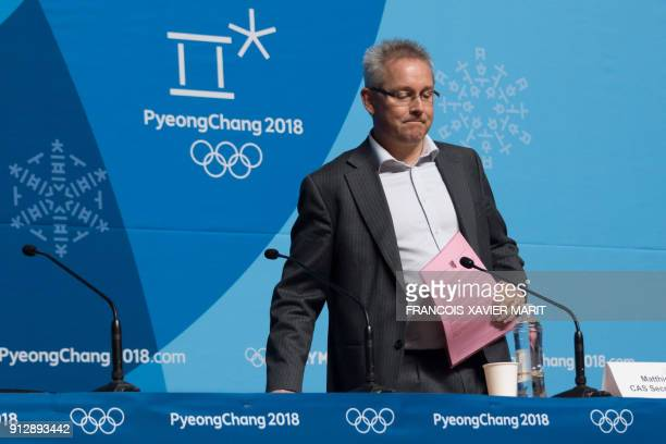 Matthieu Reeb secretary general of the Court of Arbitration for Sport arrives at a press conference to announce the court's decision regarding dozens...