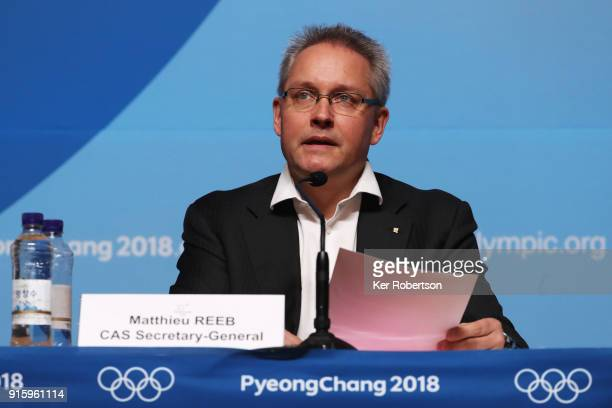 Matthieu Reeb the Secretary General of the Court of Arbitration for Sport holds a press conference at the Main Press Centre during previews ahead of...