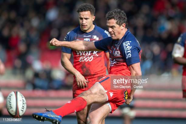 Matthieu Ugalde of Grenoble kicks clear during the Stade Toulouse vs FC Grenoble Rugby Top 14 Orange Ligue Nationale de Rugby France match at the...