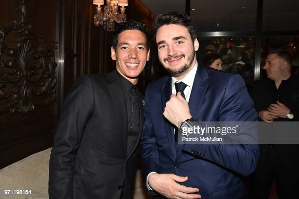 Matthieu Yamoum and Sergei Aver attend Christopher R King Debuts New Luxury Brand CCCXXXIII at Baccarat Hotel on June 5 2018 in New York City