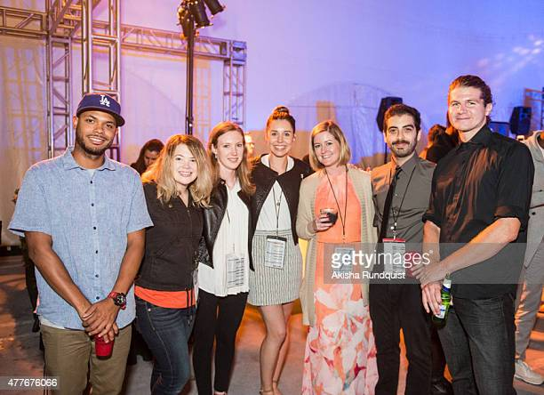 Matthieux Reed Catherine Linebarger Alexandria Kelly Claire Barclay Jessica Nolan Alex Valencia Ben Cassell attend Fiesta Latina during the 2015 Los...