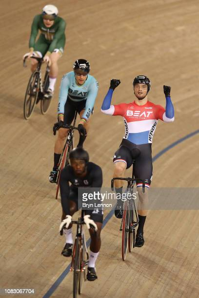 Matthijs Buchli of The Netherlands celebrates winning the Men's Keirin on day two of the 2018 TISSOT UCI Track Cycling World Cup at Lee Valley...
