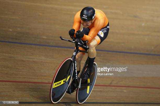Matthijs Buchli of the Netherlands competes in the 1000m Time Trial men race on Day 3 of the European Championships Glasgow 2018 in the Track Cycling...