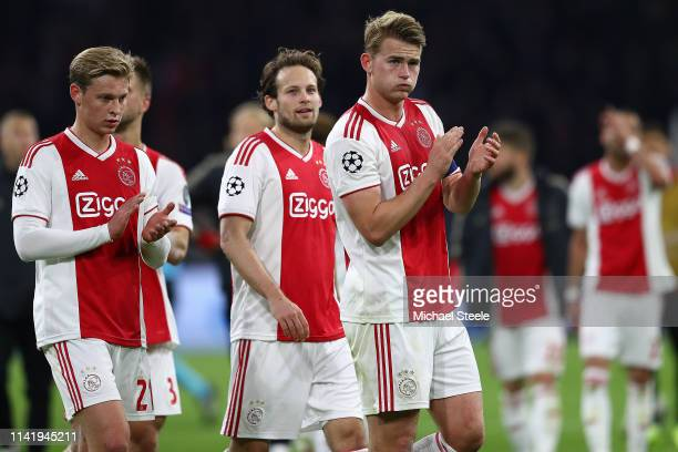 Matthijs de Ligt Daley Blind and Frenkie de Jong of Ajax applaud the home support at the final whistle during the UEFA Champions League Quarter Final...