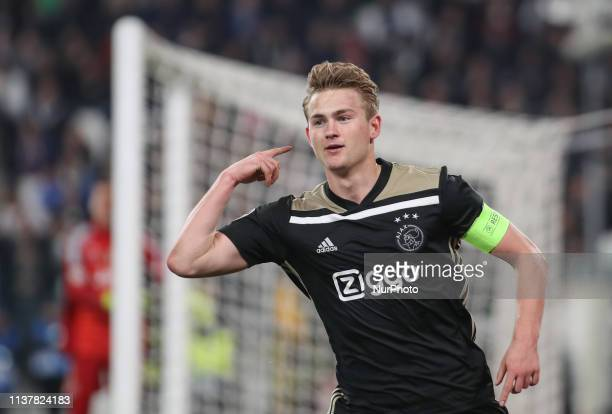 Matthijs de Ligt during the UEFA Champions League Quarter Final second leg match between Juventus and Ajax at Juventus Stadium on April 16 2019 in...