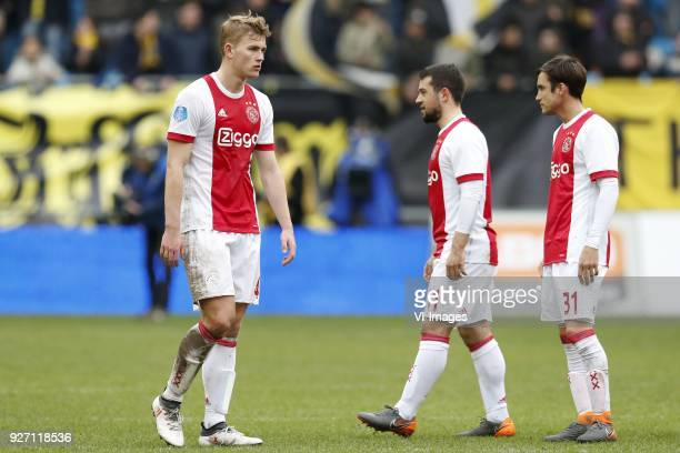 Matthijs de Ligt of Ajax Amin Younes of Ajax Nico Tagliafico of Ajax during the Dutch Eredivisie match between Vitesse Arnhem and Ajax Amsterdam at...