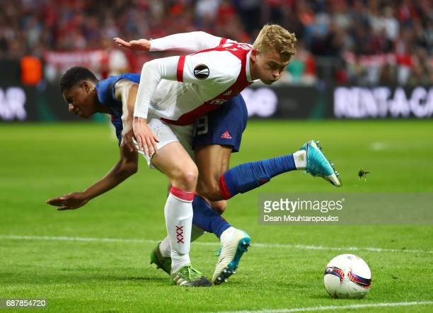 Matthijs de Ligt of Ajax and Marcus Rashford of Manchester United in action during the UEFA Europa League Final between Ajax and Manchester United at...