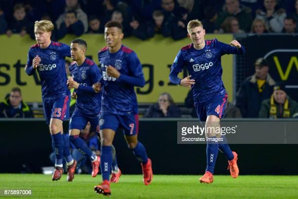 Matthijs de Ligt of Ajax celebrates 01 during the Dutch Eredivisie match between NAC Breda v Ajax at the Rat Verlegh Stadium on November 18 2017 in...
