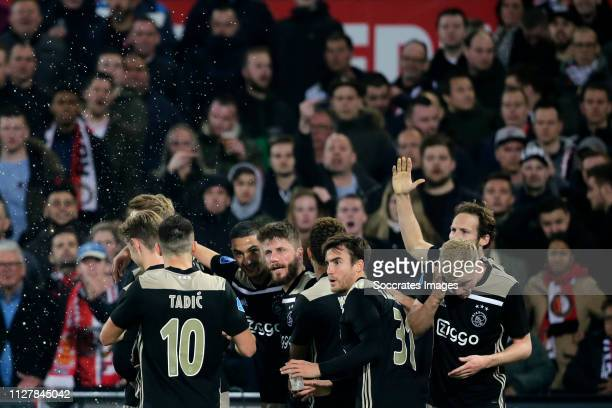 Matthijs de Ligt of Ajax celebrates 01 with Dusan Tadic of Ajax Frenkie de Jong of Ajax Hakim Ziyech of Ajax Lasse Schone of Ajax David Neres of Ajax...