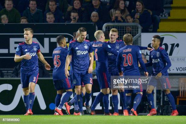 Matthijs de Ligt of Ajax celebrates 01 with Joel Veltman of Ajax Justin Kluivert of Ajax Nick Viergever of Ajax Donny van de Beek of Ajax Lasse...