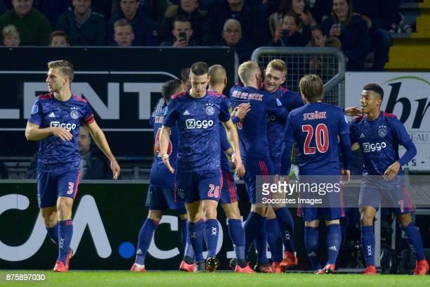 Matthijs de Ligt of Ajax celebrates 01 with Joel Veltman of Ajax Justin Kluivert of Ajax Nick Viergever of Ajax Donny van de Beek of Ajax Lasse...